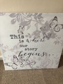 Grey and Lilac Quote Canvas