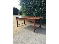 Antique French Country Farmhouse Elm Top Kitchen Dining Table