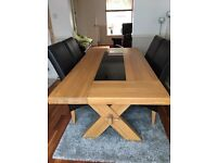 French Oak Dining Table with 4 Leather and suede Chairs