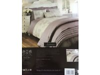 NEW DOUBLE DUVET SET IN GREY AND LIGHT PURPLE