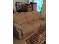 Reid furniture beige double electric recliner sofa
