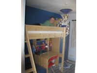 Thuka Highsleeper single bed with futon cushioned seat, desk and shelves