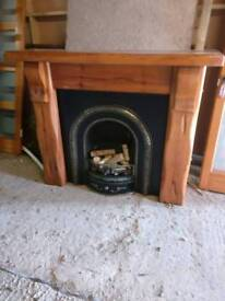 Pine fire surround and insert
