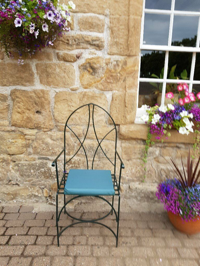 Pair Of Dark Green Wrought Iron Patio Chairs In Tillicoultry
