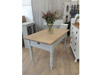 Shabby chic Victorian solid pine dining table by Eclectivo