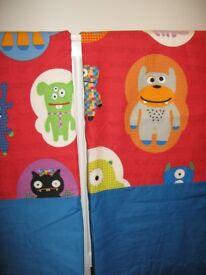 """Next kids Monster Crazy Curtains 66""""x 54"""" Brand New"""