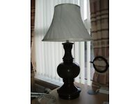 LARGE DARK GREEN TABLE LAMP AND SHADE. EXCELLENT CONDITION. 73 cm TALL. BASE 20 cm DIAMETER. £15