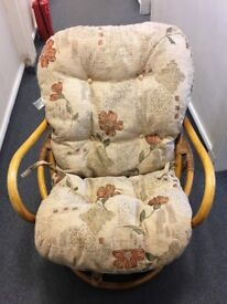 2 Bamboo Chairs with Cushions - In Good Condition