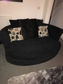 Black 3seater sofa, cuddler and footstall set for sale