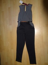 Beautiful black / white striped top - black trousers Jumpsuit / catsuit. Size 10