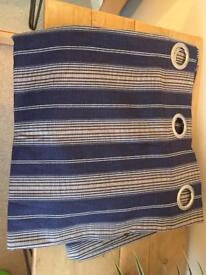 Blue white striped lined curtains brand new