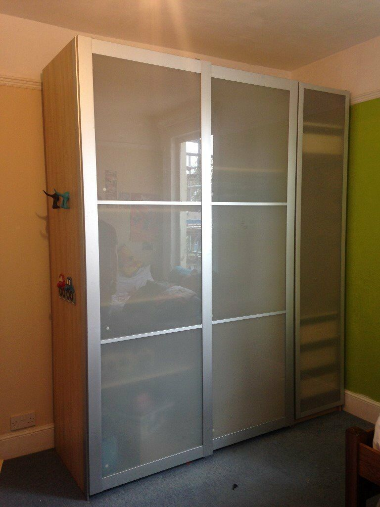 Ikea pax wardrobes frosted glass sliding doors total 200 for Sliding glass doors gumtree