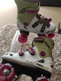 Phoenix Roller skates, (Junior Size UK 12), Pink & White. Excellent Condition.