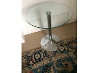 **VERY GOOD CONDITION** Bistro Table with Stainless Steel pedestal and toughened glass top