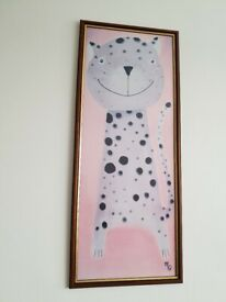 Wooden framed Art Cat Leopard Cartoon Print Signed By Artist