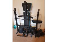 Mens Health Folding Workout Bench with 35kg & extra 32.5kg with 4 dumbbells & 2 bars