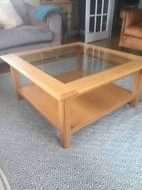 Solid oak large glass top coffee table