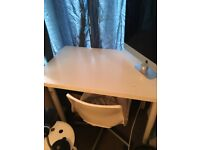 White Wooden Desk with Metal Legs + Chair