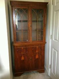 Antique Style Yew Veener Bookcase Glazed Top Display Cabinet