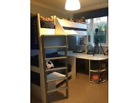 Kids High Sleeper from GLTC with pull out sofa bed and pull out desk with bookcase - good condition
