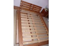 Scandinavian Style 4ft 6in Pine Double Bed mattress now sold
