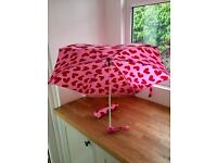 BRAND NEW: Pink Umbrella with Red Love Heart Pattern/Design - Super Light