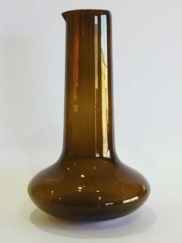 TIMO SARPANEVA IITTALA CLASSIC 1960s SHAPE AMBER GLASS PITCHER FULLY SIGNED VGC