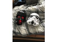 Avengers on wall lights, Darth Vader and Storm Trooper Masks and large joker figurine