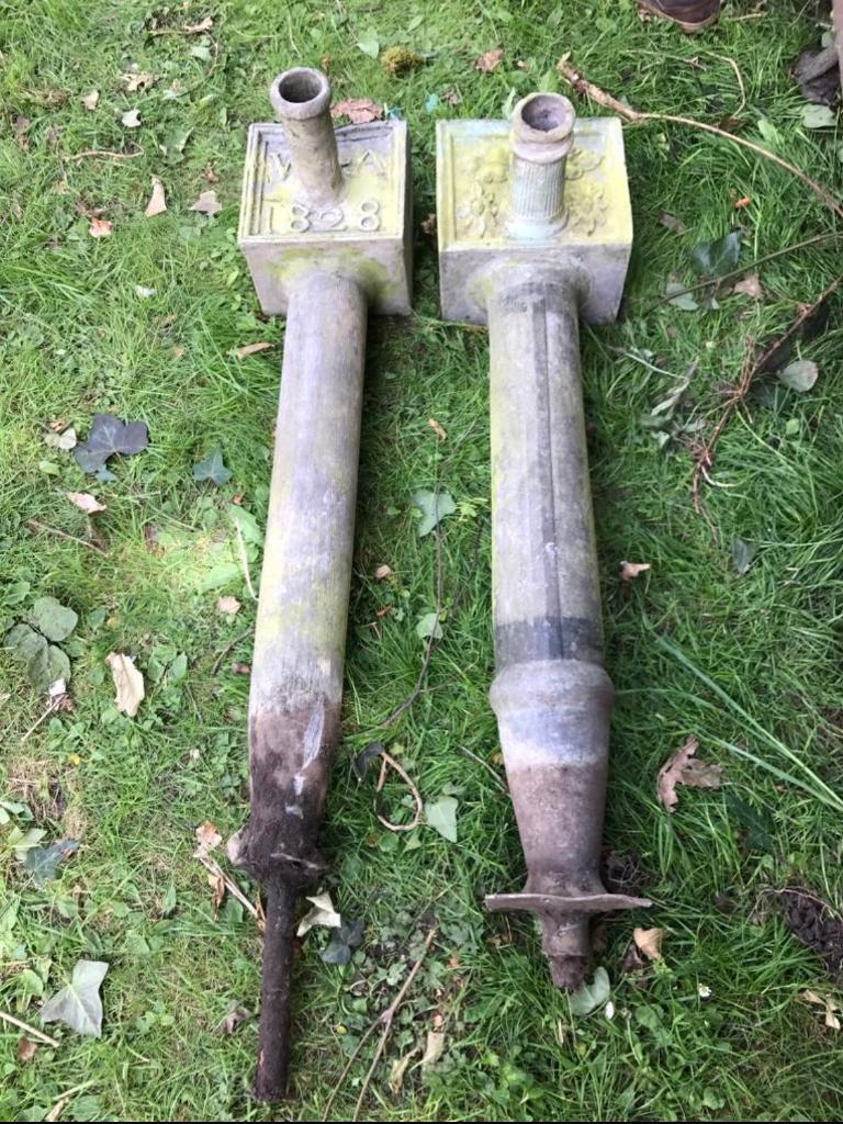 Antique lead decorative overflow pipes