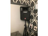Set of peavey speakers stands an bass bin