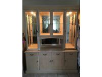 Glass cabinet with sideboard for sale 2 pieces
