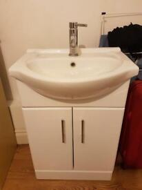 White Vanity Sink with Cabinet