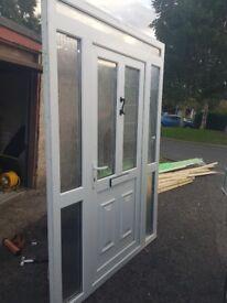 2 pvc doors frames and side panels also fanlight like new