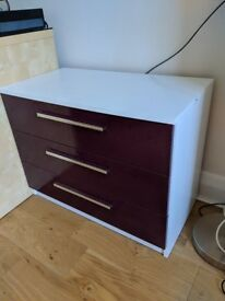 3-drawer chest of drawers in plum from Argos' Sparkle range - £40 (or nearest offer)