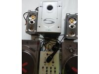 Ion plug and play dj kit, two turntables, mic, speakers and mixer