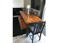 8 Seater farmhouse Dining Table With bench & 4 crushed velvet Chairs