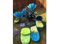 icandy double travel system in sweet pea stroller pram pushchair