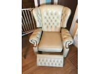 Chesterfield real leather recliner