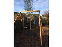 Nearly new TP Double Round Wood twin swings