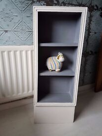 Beautiful slim two-tone Grey and White, solid wood bookcase