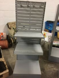 GREY METAL DISPLAY STAND WITH 2 SHELVES AND 4 HOOKS SHOP DISPLAY