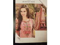 PAKISTANI DESIGNER WEAR COTTON PRINTED AND EMBROIDERED 3PC IN PINK AND RED