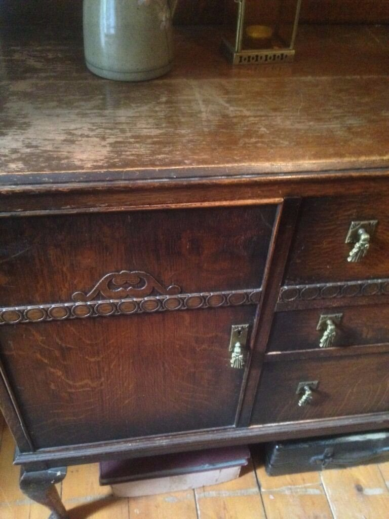 Sideboard Antique Wooden Chest Of Drawers Huge Vintage Living Room Furniture
