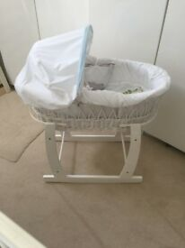 Wicker Moses Basket with Stand and bedding
