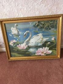 Beautiful tapestry picture of a Swan