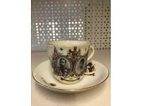 King George married queen Mary July 6th 1893 cup and plate