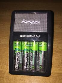 Rechargeable batteries with charger station
