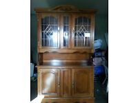 Dresser with glass display cabinet