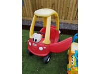 Giving away - Little Tikes red/yellow coupe car and ride-on train