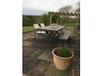 Crate and Barrel outdoor dining table, bench and chairs